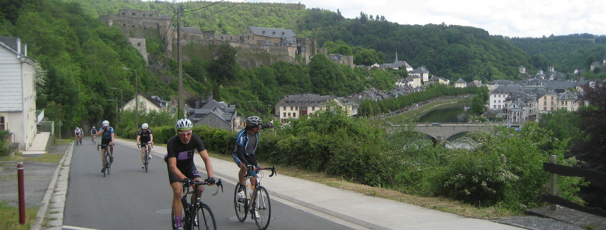 Views over Bouillon with its majestic castle.